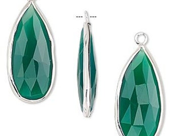 Large Green Onyx Teardrop Pendant, Sterling Silver Bezel, Earring Components, 27 x 12mm