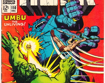 The Incredible Hulk 110 comic book. Smash Umbu, Herb Trimpe, Silver Age. Marvel Comics from 1968 in VG/FN (5.0)