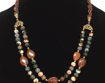 Semi-Precious Gemstone Kumihimo Necklace