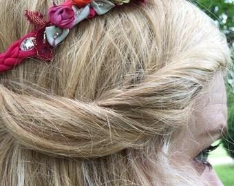 Bohemian Peony Braided Silk Wedding Halo Headband