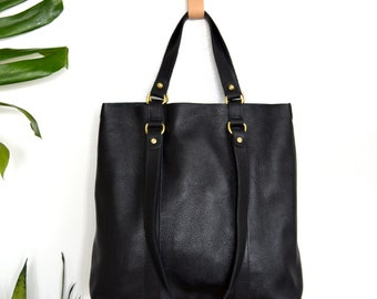 Tote Bag Leather Tote Bag Black Leather Minimalist Tote Bag Classic Black Pebbled Leather Convertible Tote Mummer Tote