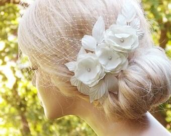 Ivory Birdcage Veil, Wedding Hairstyles, Wedding Fascinator, Bridal hair piece, Bridal Headpiece, Ivory Fascinator, Bridal Hairstyles