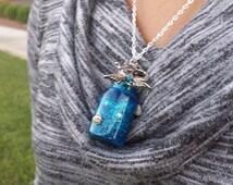 Small Mermaid Tears Corked Mini Bottle Necklace, Handmade,  glass wish bottle, Tiny Bottle, Corked Bottle and mermaid pendant with seashells