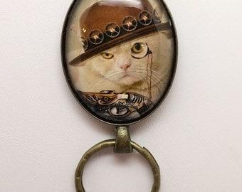 Steampunk Cat Magnetic Badge Holder , Magnetic Eyeglass Holder, ID Badge Holder, Magnetic brooch, Magnetic pin, Reading Glasses Holder