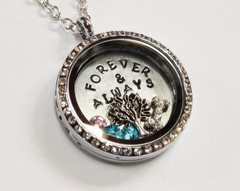 Forever & Always - Wedding or Anniversary - Floating Charm Locket - Memory Locket - Custom Stamped Gift