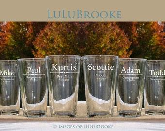 Personalized Groomsmen Gifts, Beer Glasses, Wedding Toasting Glasses, Pint Glasses, 1 Custom Beer Mugs, Gifts for Groomsmen, 16oz Glass, 1