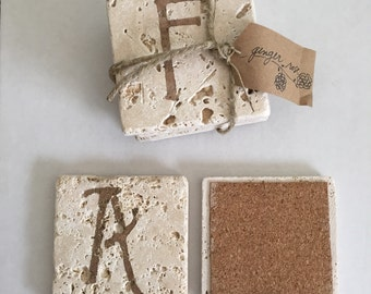 Personalized travertine tile coasters. Set of 4.