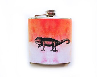 Chameleon Flask Orange and Pink Cute Girlfriend Gift 21st Birthday Stainless Steel Women's Flask