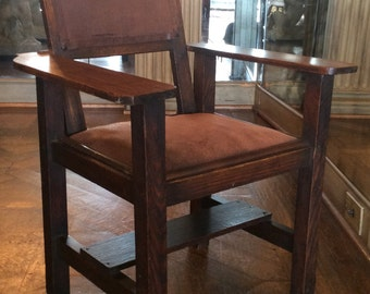 Rustic Child's Arts and Crafts Oak Arm Chair with Pig Skin Upholstery