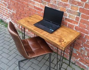 Rustic Industrial Plank Desk Table with Metal Hairpin Legs - chunky wood vintage retro