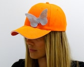 Orange Baseball Cap with Butterflies, Baseball Cap, Baseball Hat, Women Baseball Hat, Sun Hat, Women Baseball Cap, Cotton Baseball Hat, Cap