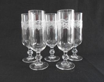 Vintage Grapevine Champagne Flutes Set of Five 1970's