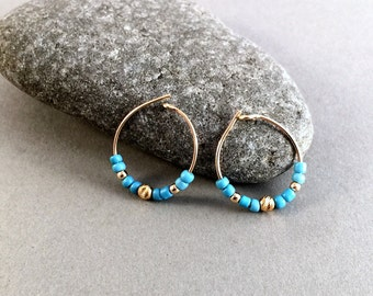 Small Gold Hoops Tiny Turquoise Gold Hoops Thin Gold Hoop Earring Small Gold Hoops Boho Chic Hoop Earrings Turquoise Seed Beads Gift for Her