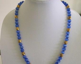 ON SALE - Necklace, Blue CatsEye Glass