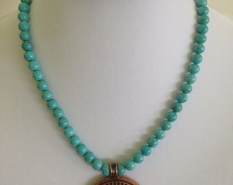 ON SALE - Necklace,Turquoise Howlite with Copper Medallion