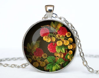 Raspberry necklace Raspberry pendant Flower jewelry Rose