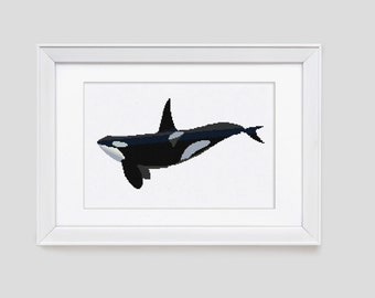 Orca cross stitch pattern, orca counted cross stitch pattern, orca modern cross stitch pattern, orca cross stitch pdf pattern