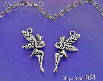 Fairy Charms Double Sided (6), Antique Silver Tone Charms, Nymph Charms, Fairies Charms, Charm Bracelet, Cute Fairy Charm, Little Angel