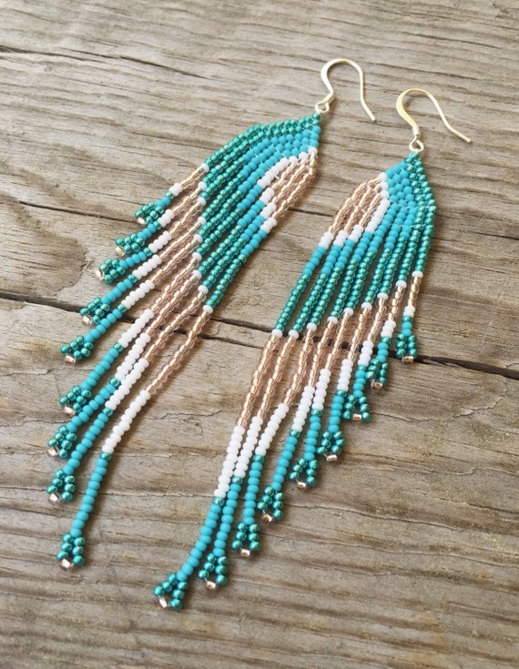 items similar to seed bead earrings fringe earrings