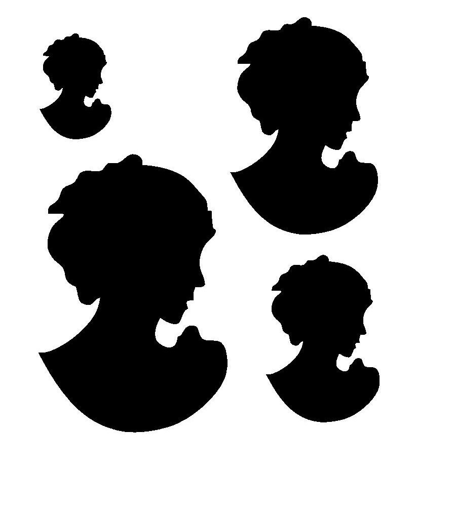6 6 vintage lady cameo silhouette stencil template