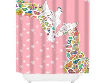 giraffe shower curtain, pink shower curtain, kids bathroom decor, pink bathroom, kids shower curtain, giraffe decor, baby girl bathroom