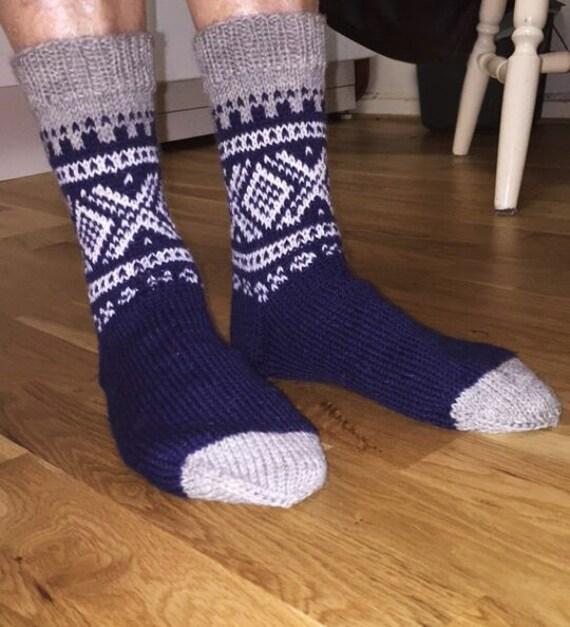 Hand Knitted Gray Blue and White Socks Winter Socks