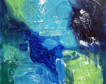 """Small blue & green abstract painting Vertical blue textured wall art Contemporary decor 12""""x9 """" Original modern apartment abstract on paper"""