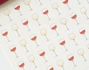 40 Wine Glass Planner Stickers- Red Wine and White Wine Stickers- Date Night- Girls Night- perfect in your Erin Condren planner or scrapbook