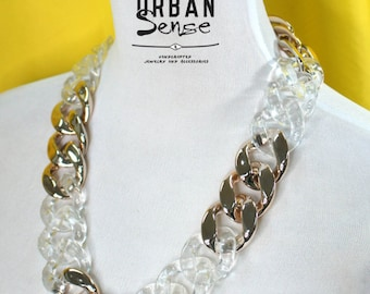 Gold and Transparent Clear Acrylic Chunky Chain Link Statement Necklace, Bib Necklace, Bridesmaids Necklace, Fashion Party Necklace
