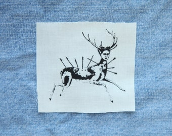 Frida Kahlo Self Portrait as a Wounded Deer Feminist Patch // Beige Silkscreen Sew On Patch