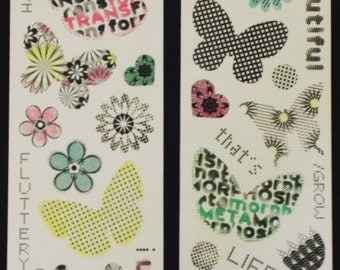 Miss Elizabeths Floral and Butterfly Clear Sticker Sheet Double Sided Acid Free Lignin Free NEW