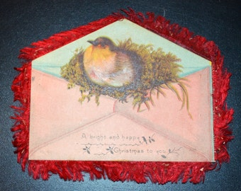 Silk Fringe Christmas Card Victorian Bird Envelope Card