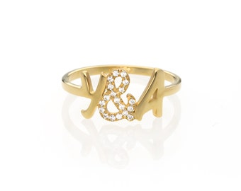 Diamond initial ring - Personalized diamond ring - letter ring - Gold initial ring  -custom ring - initial ring gold - diamond name ring