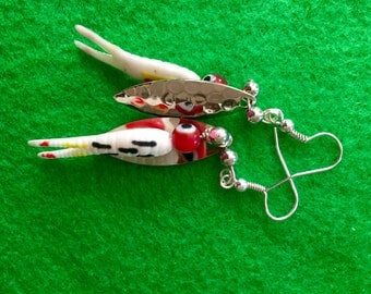Grub worm fishing lure earrings