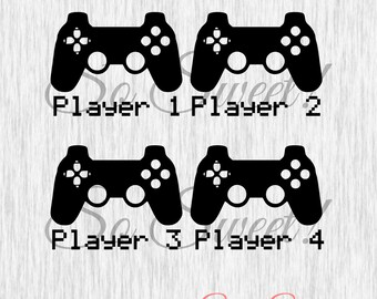 Game Controllers SVG / DXF Player 1 2 3 4 Family Gaming Family Cut File System Controller Play Silhouette Pixel Shirt Player 1 Video Game