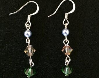 Three Color Dangle Earrings