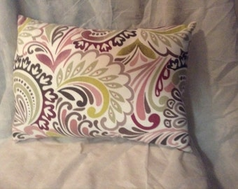 Decorative pillow with shades of pink , green and yellows pillow home decor