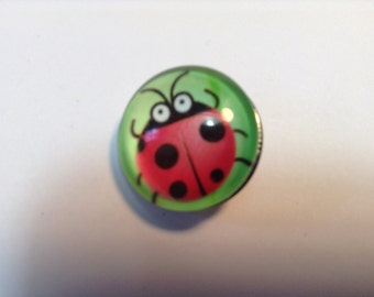 """1- 18mm glass  """"LADY BUG"""" Snap Button"""