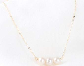 White Freshwater Pearl Gold Necklace - 14k Gold-Filled  - Pearl Necklace - Triple Pearl Necklace - Bridesmaid Gift - Mother of the Bride