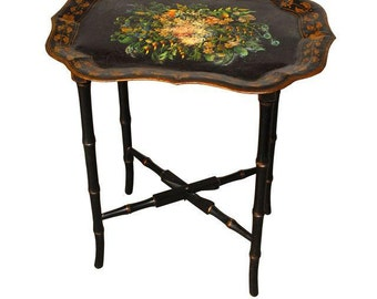 Chinoiserie Tole Tray Table Nightstand