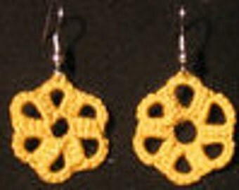 Tatted Yellow Flower Earrings