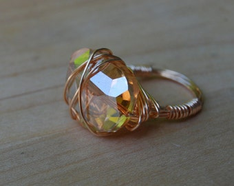 Amber Bead, Copper Wire Wrapped Ring