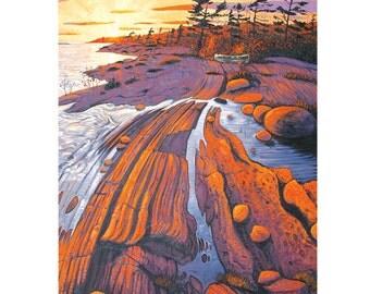 "Old Friend Sunset - 7""x 5"" blank greeting card - original oil painting by Mark Berens - www.markberensart.com"