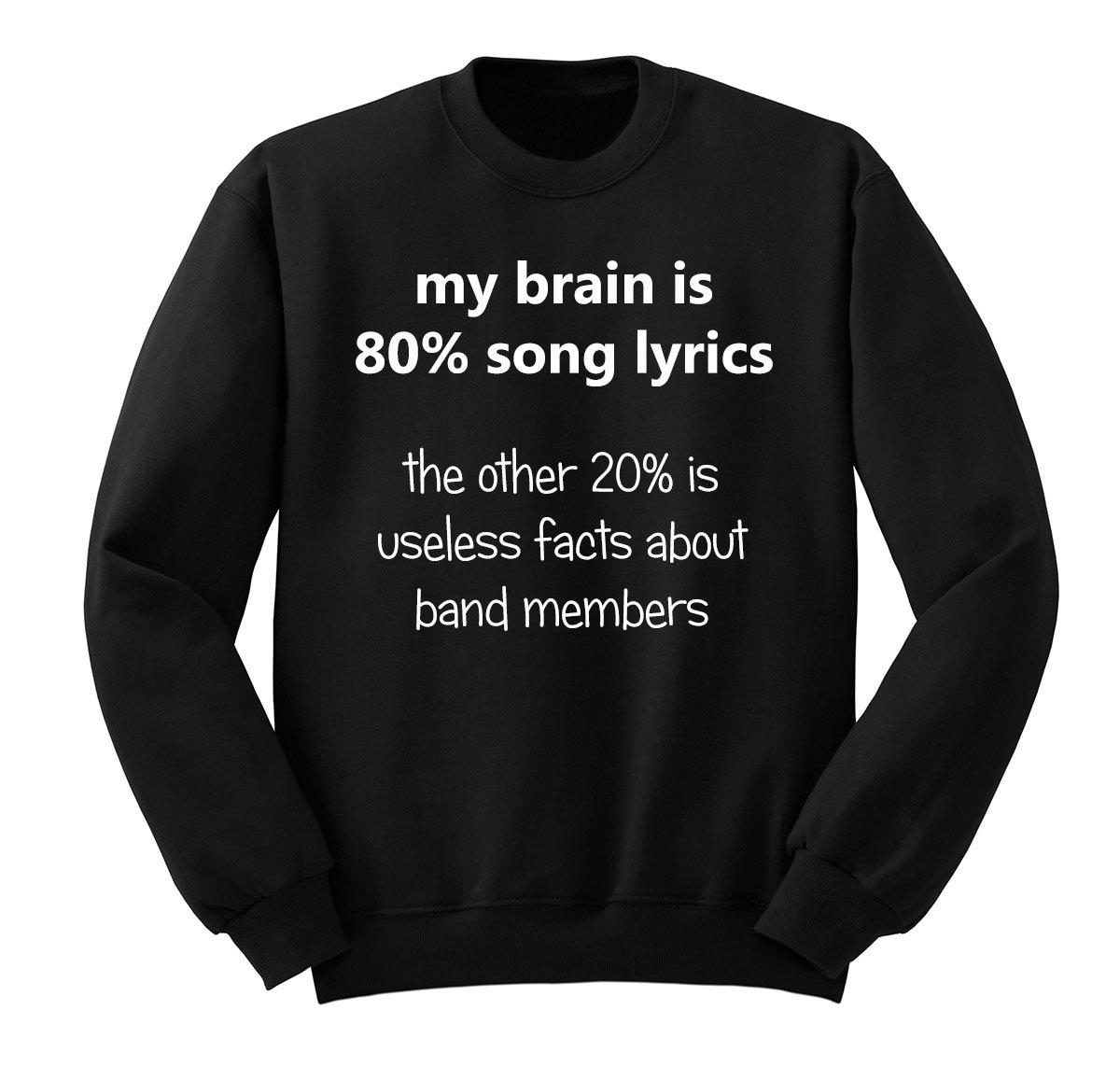 My Brain Is 80 Song Lyrics 5sos Crew Neck Sweatshirt