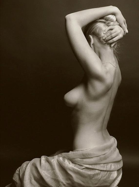 Era nue « Sur le côté » - noir et blanc-multiples tailles [730-247] - Silhouette côté Sexy sensuelle classique classique des années 1930-1940
