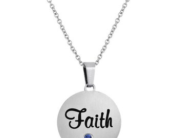 Faith Disc Pendant With Personalized Birthstone