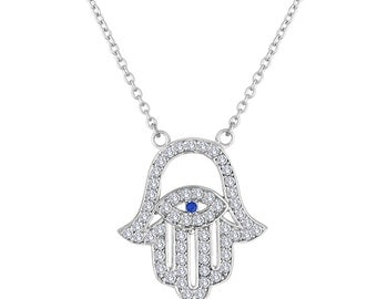 Hamsa Necklace, 925 Sterling Silver and CZ
