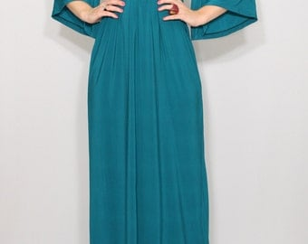 Maxi dress Teal dress Empire waist dress Kimono dress Women Long dress Teal blue dress