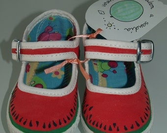 Buckle girl slippers - hand painted