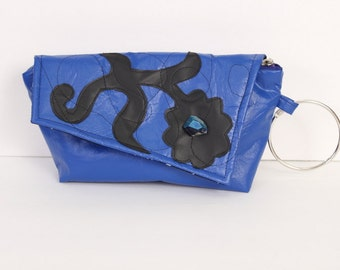 One of a kind handmade blue art nouveau inspired floral motif vinyl clutch purse with saphire-like bead